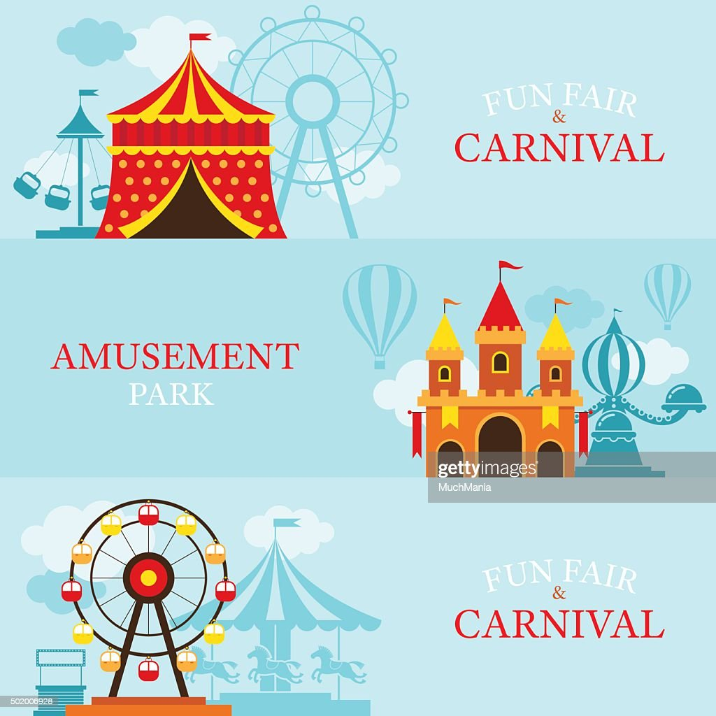 Amusement Park, Carnival, Fun Fair, Banner