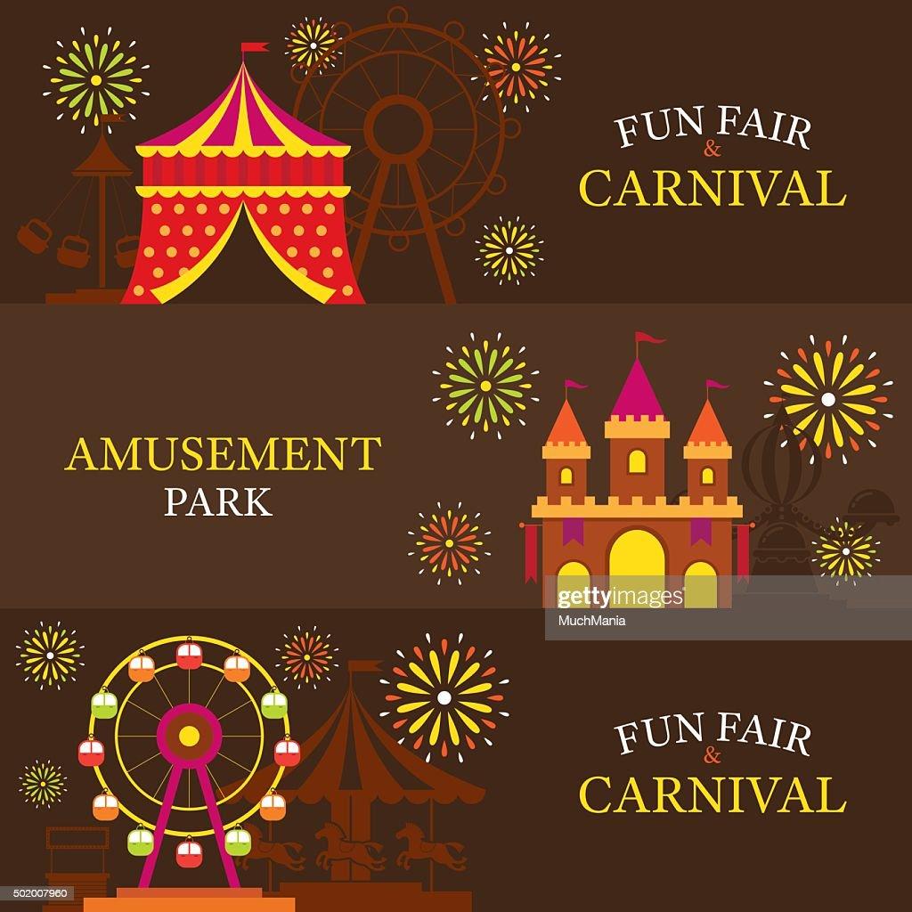 Amusement Park, Carnival, Fun Fair, Banner