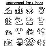 Amusement park & Festival icon set in thin line style