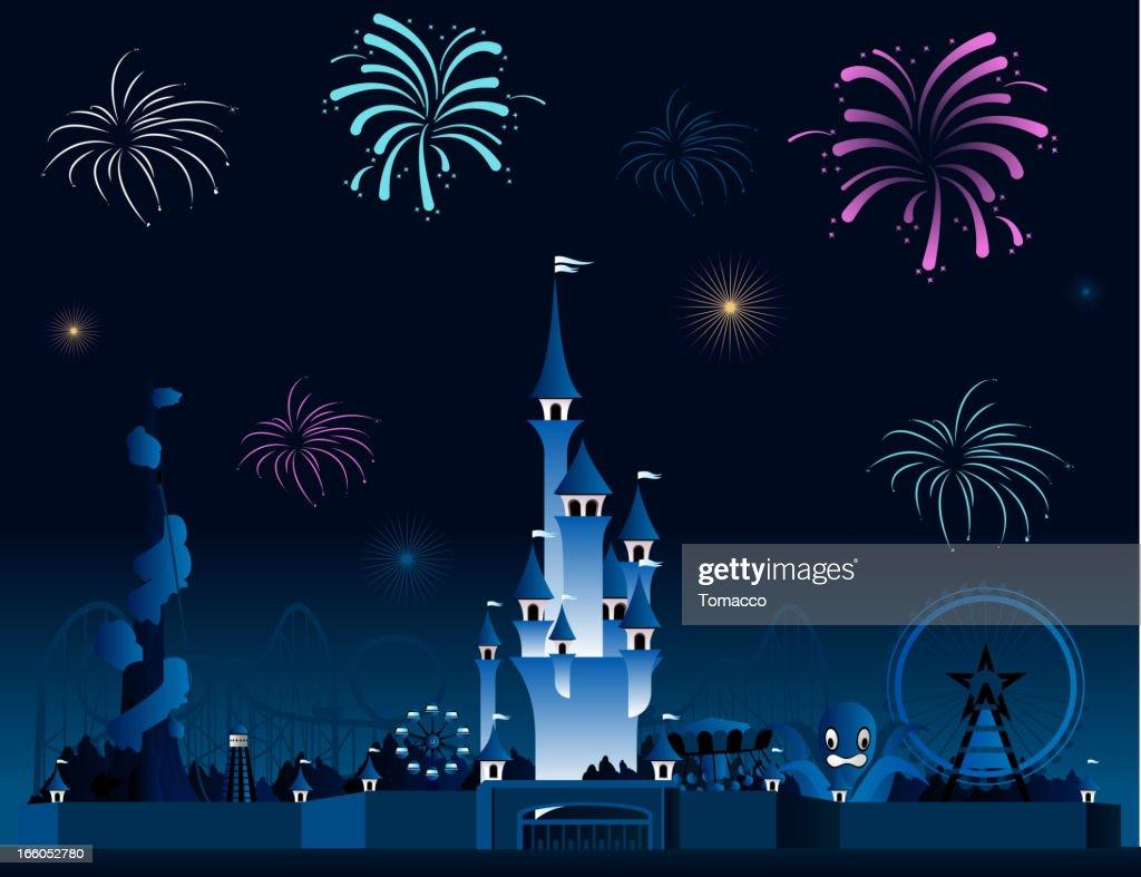 Amusement park fireworks display pyrotechnia