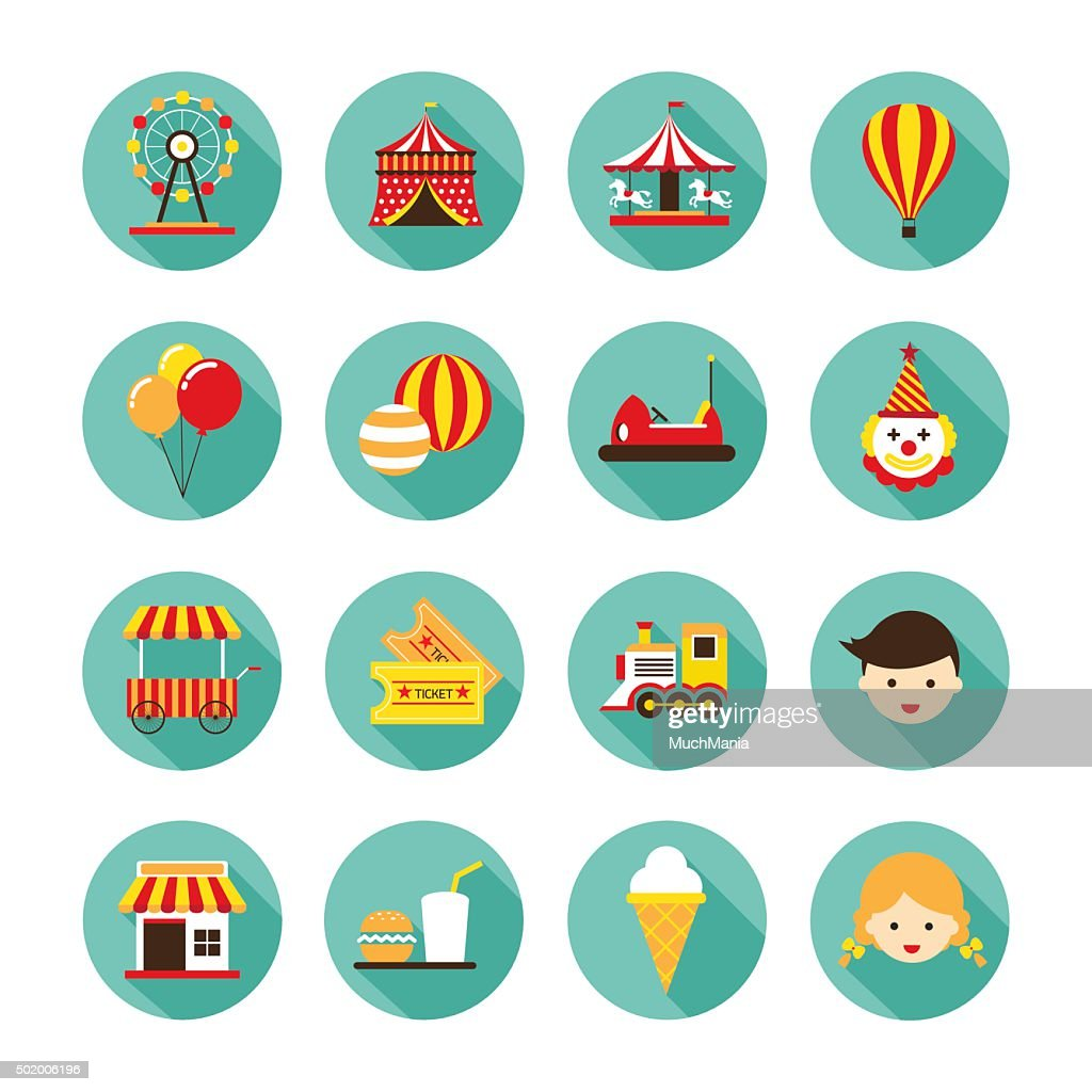 Amusement Park Flat Icons Set