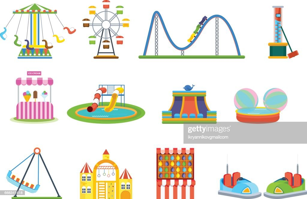 Amusement park for children with attractions and fun games