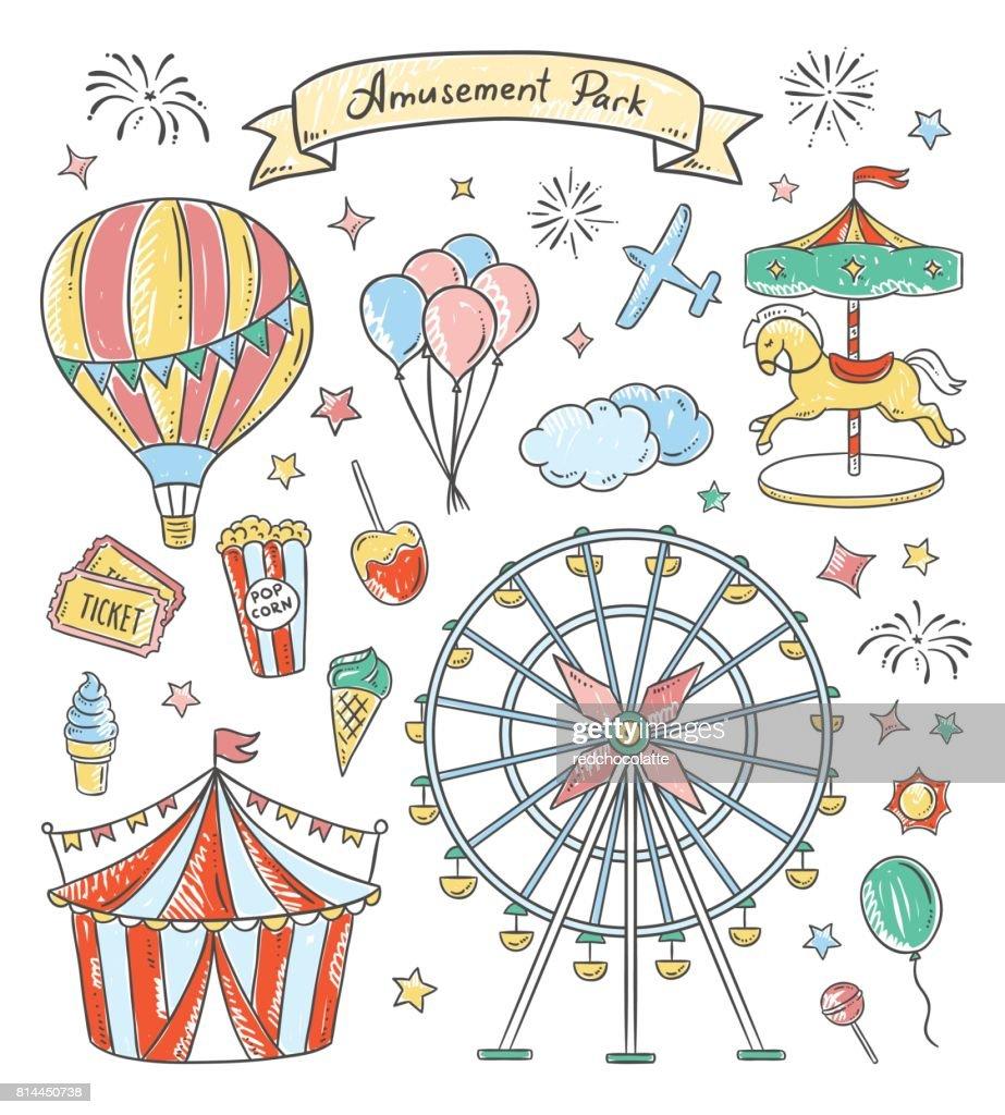 Amusement park hand drawn illustrations. Vintage fair vector elements