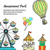 Amusement park hand drawn vector illustration. Colorful sketches attractions, ferris wheel, carousel, ice cream, air balloon for flyer, web banner.