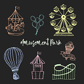 Amusement park hand drawn vector illustration. Colorful sketches ferris wheel, carousel, ice cream, air balloon