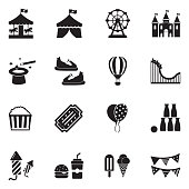 Amusement Park Icons. Black Flat Design. Vector Illustration.