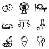 Amusement Park Icons Freehand