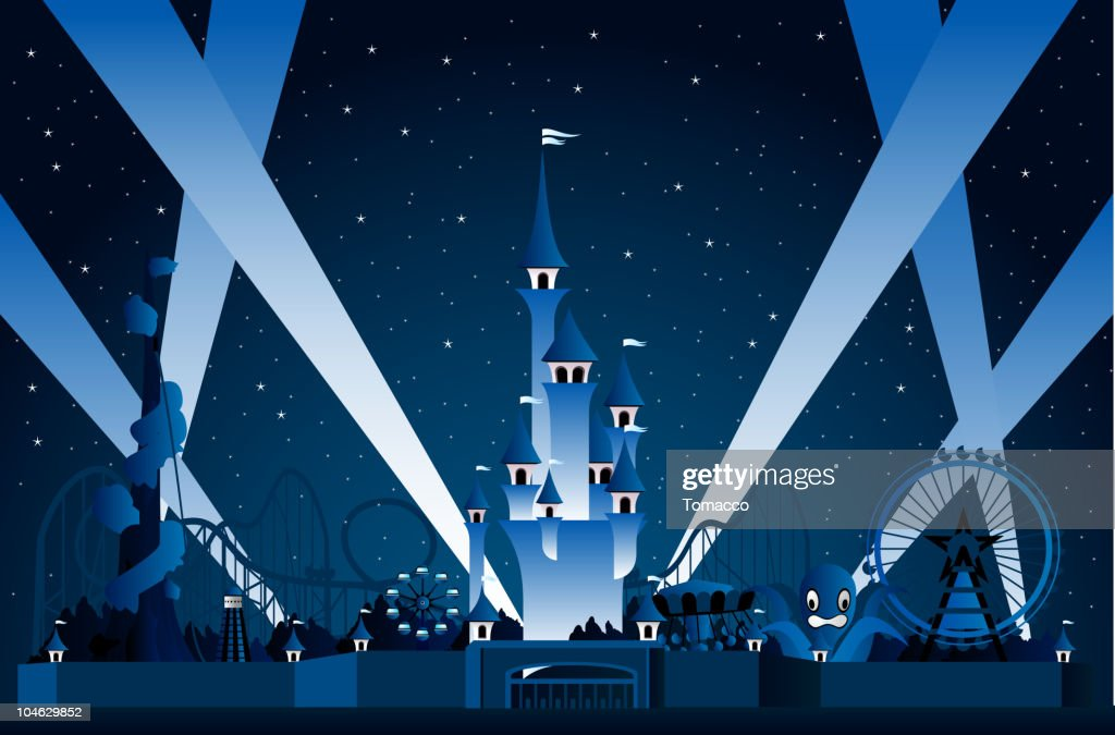 Amusement Park Lights Display at Night
