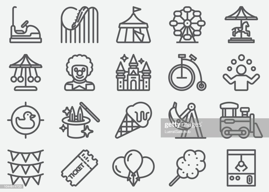Amusement Park Line Icons : Stock Illustration