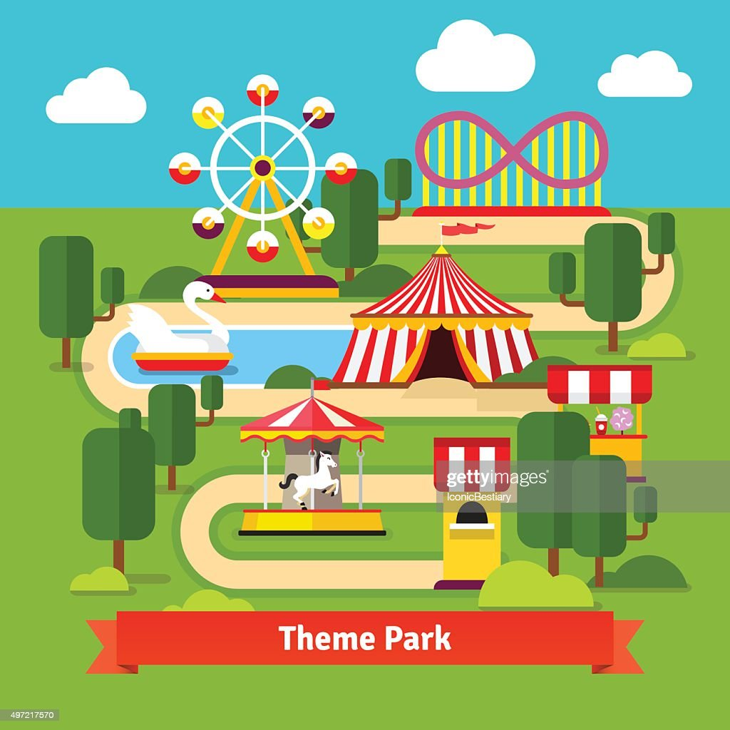 Amusement park map, ferris wheel, roller coaster