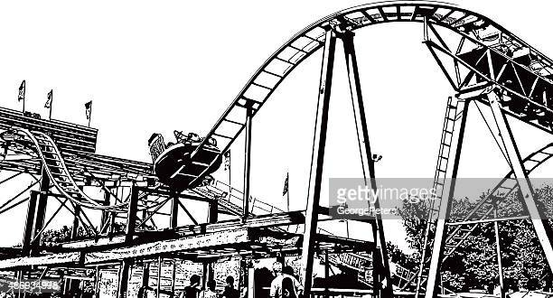 Amusement Park Midway and Roller Coaster, Isolated On White