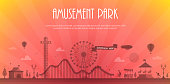 Amusement park - modern vector illustration with place for text