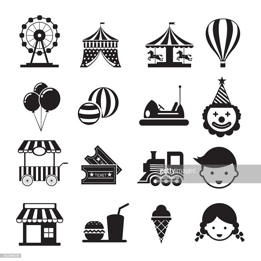 Amusement Park Mono Icons Set