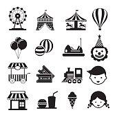 Amusement Park Mono Icons Set
