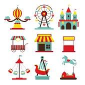 Amusement Park Objects Flat Icons Set