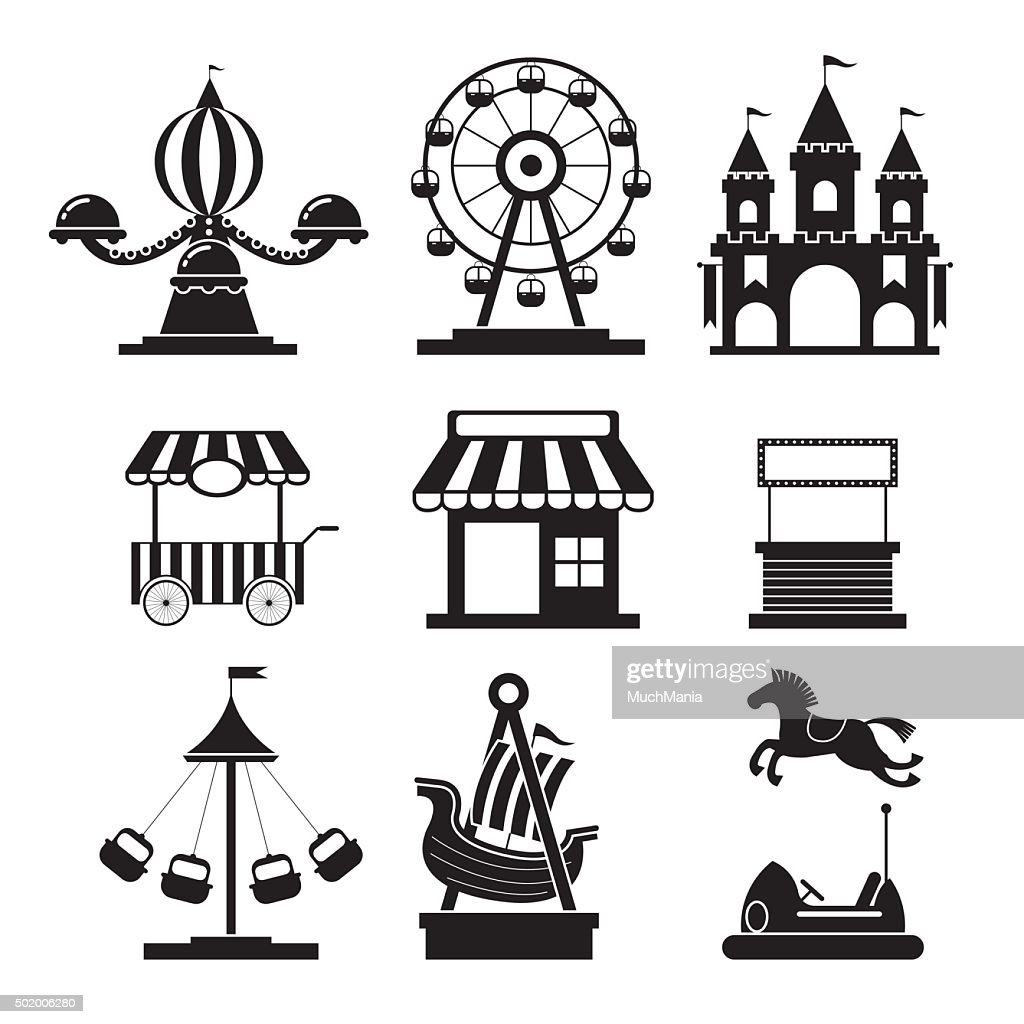Amusement Park Objects Icons Mono Set