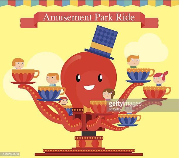 amusement park octopus game - carnival ride stock illustrations, clip art, cartoons, & icons