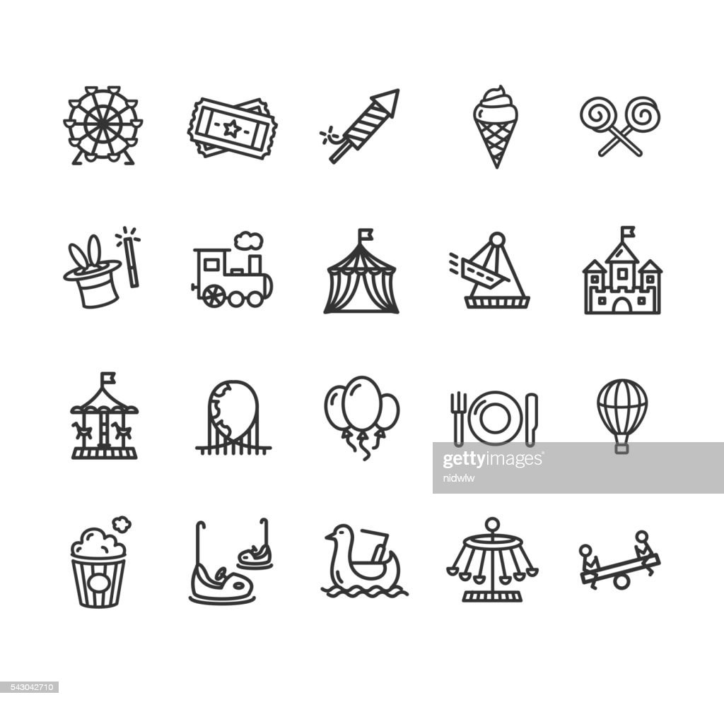 Amusement Park Outline Icon Set. Vector