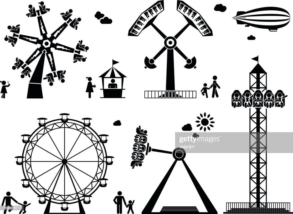 Amusement park pictogram set