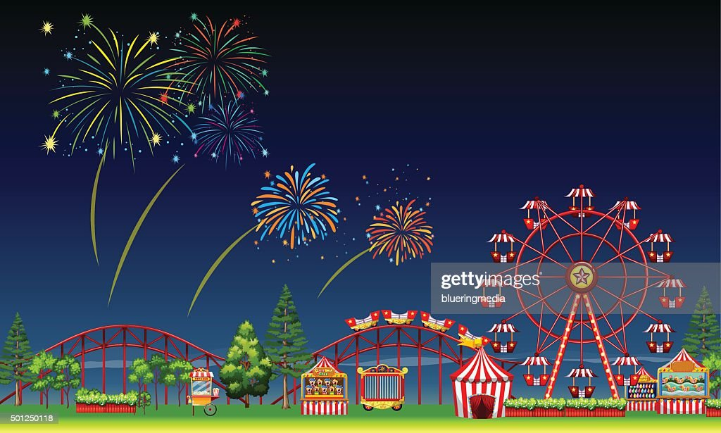 Amusement park scene  night  fireworks