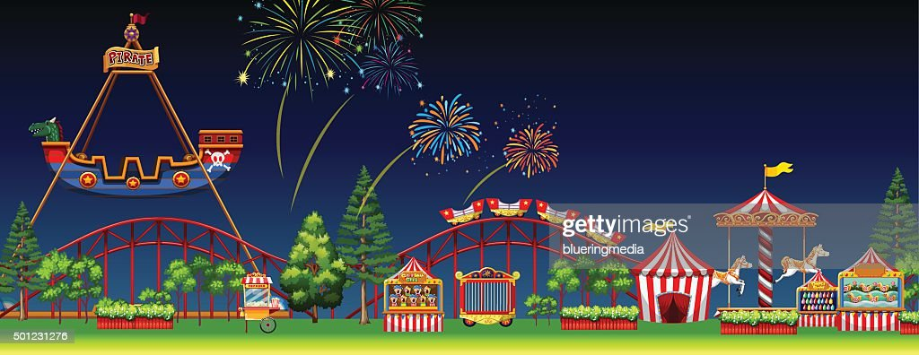 Amusement park scene  night