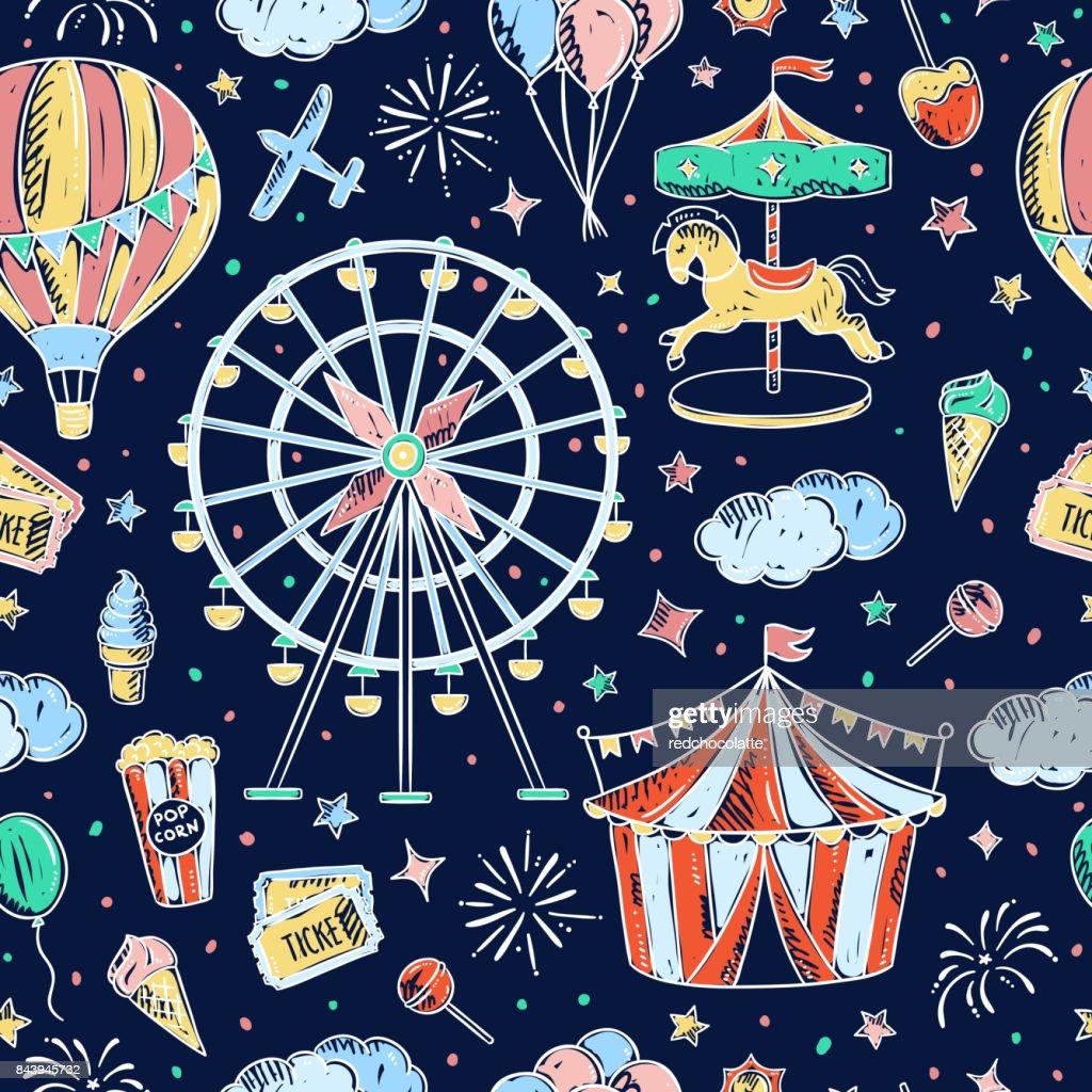 Amusement park seamless vector pattern