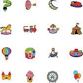 Amusement park set icons set cartoon