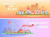 Amusement park - set of modern flat vector illustrations