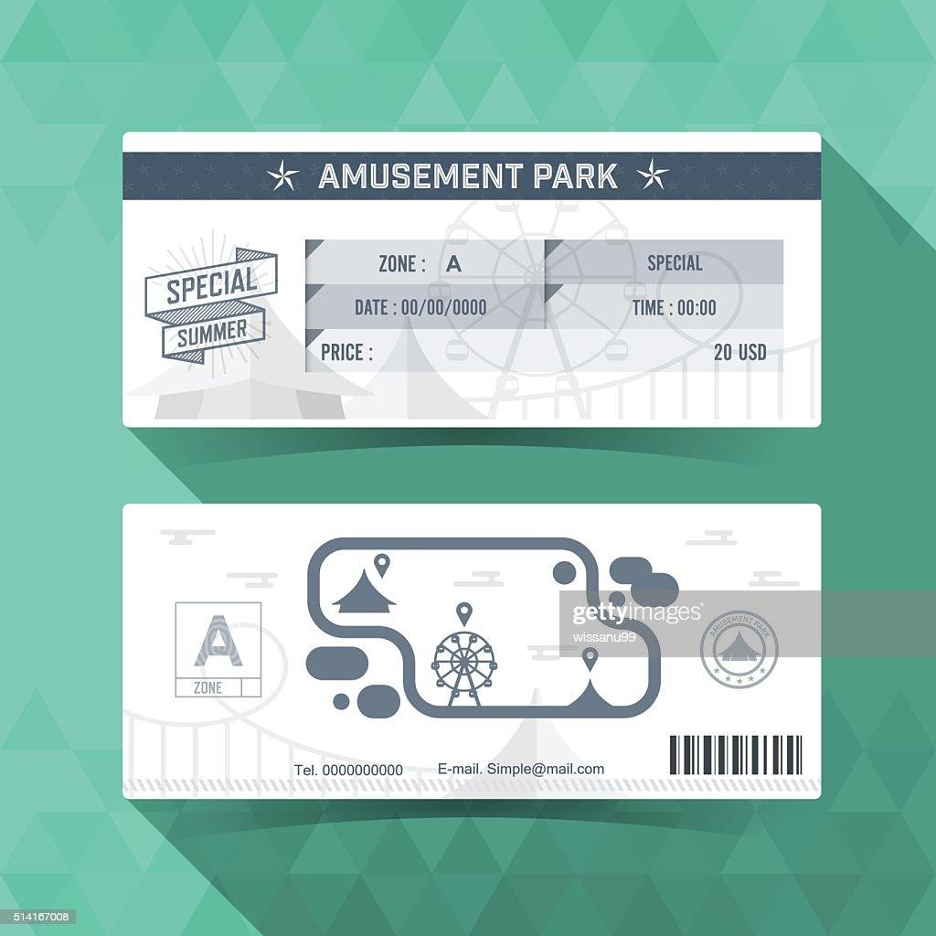 Amusement park Ticket. Card Element Design. Vector illustration.