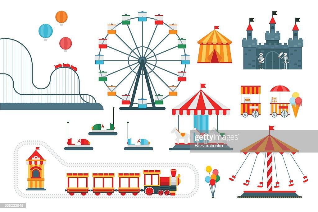 Amusement park vector flat elements for map