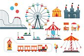 Amusement park vector flat elements for map