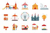 Amusement park vector flat elements, fun icons, isolated on white background with ferris wheel, castle, attractions, circus, air balloon, swings, carousel. Architecture entertainment elements vector