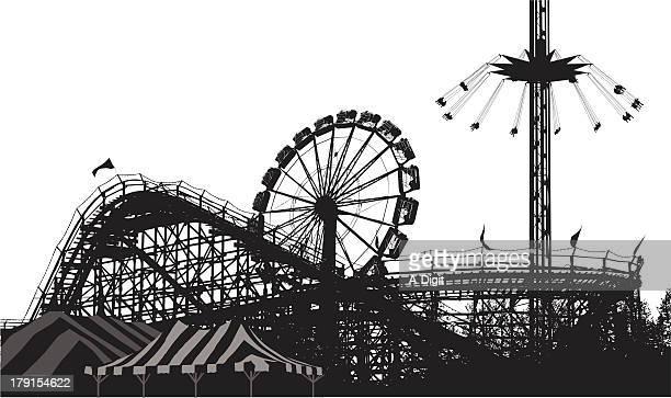 amusement park - carnival ride stock illustrations, clip art, cartoons, & icons