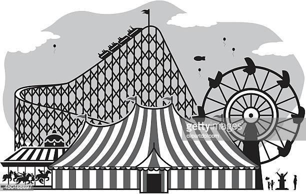 illustrations, cliparts, dessins animés et icônes de parc d'attractions - chapiteau de cirque