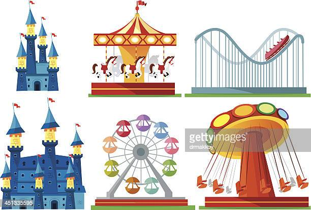 amusement park - ferris wheel stock illustrations, clip art, cartoons, & icons