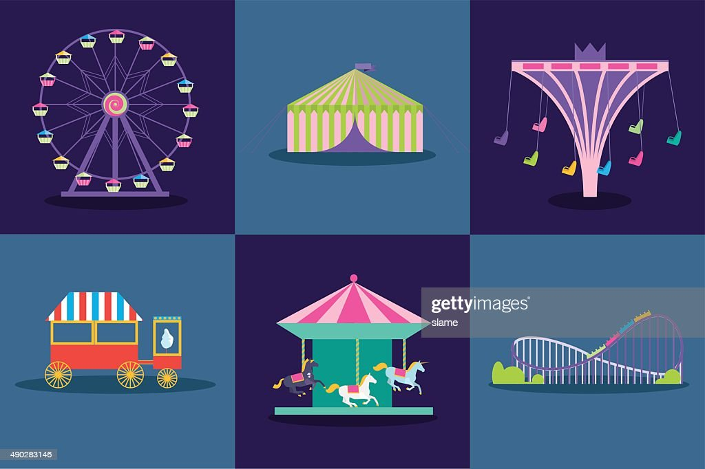 Amusement park vector set. Ferris wheel, roller coaster, popcorn