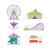 Amusement park vector set.