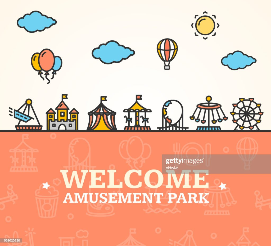 Amusement Park Welcome Card. Vector