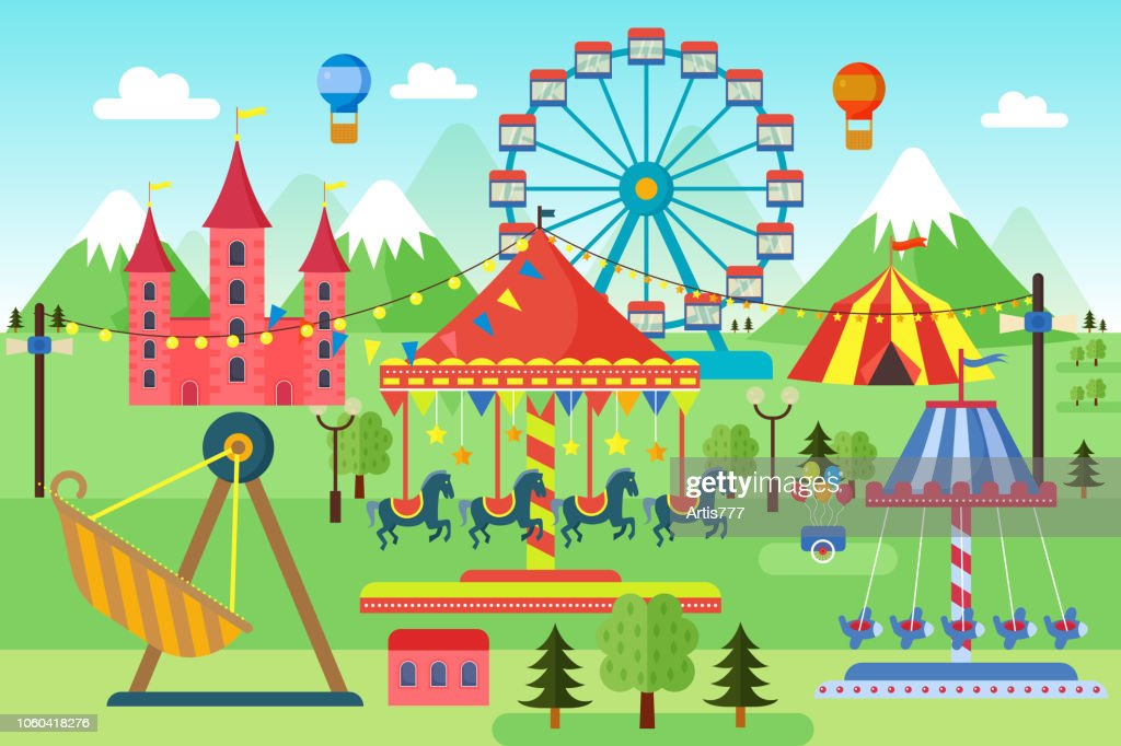 Amusement park with carousels, roller coaster and air balloons. Comic circus, fun fair. Cartoon carnival theme landscape vector illustration.
