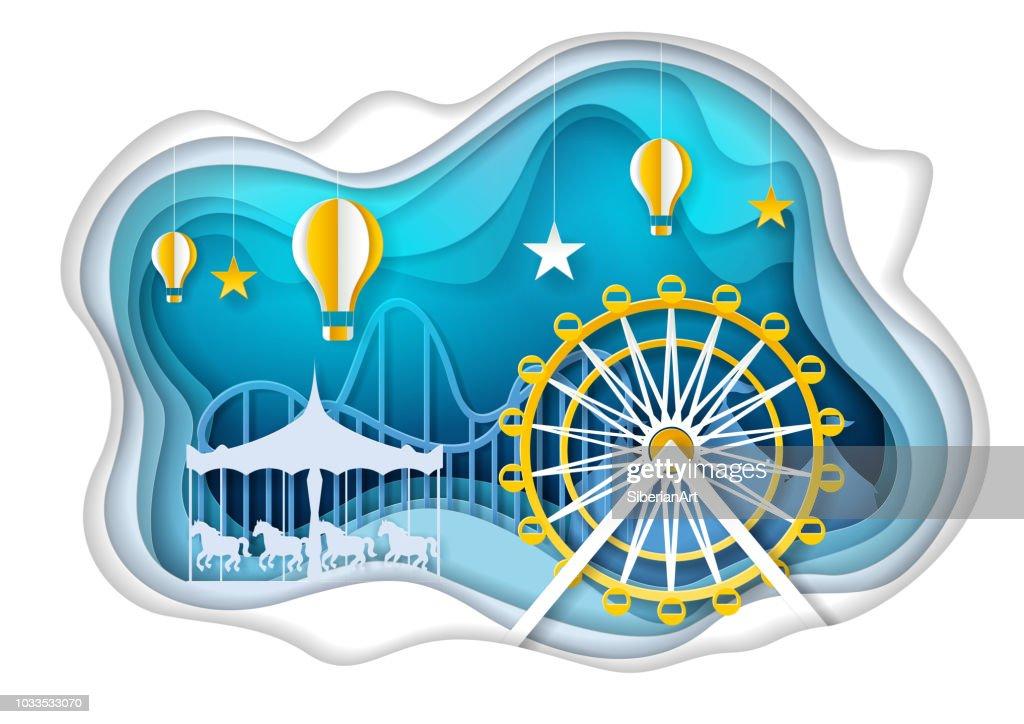 Amusement park with ferris wheel vector paper art illustration