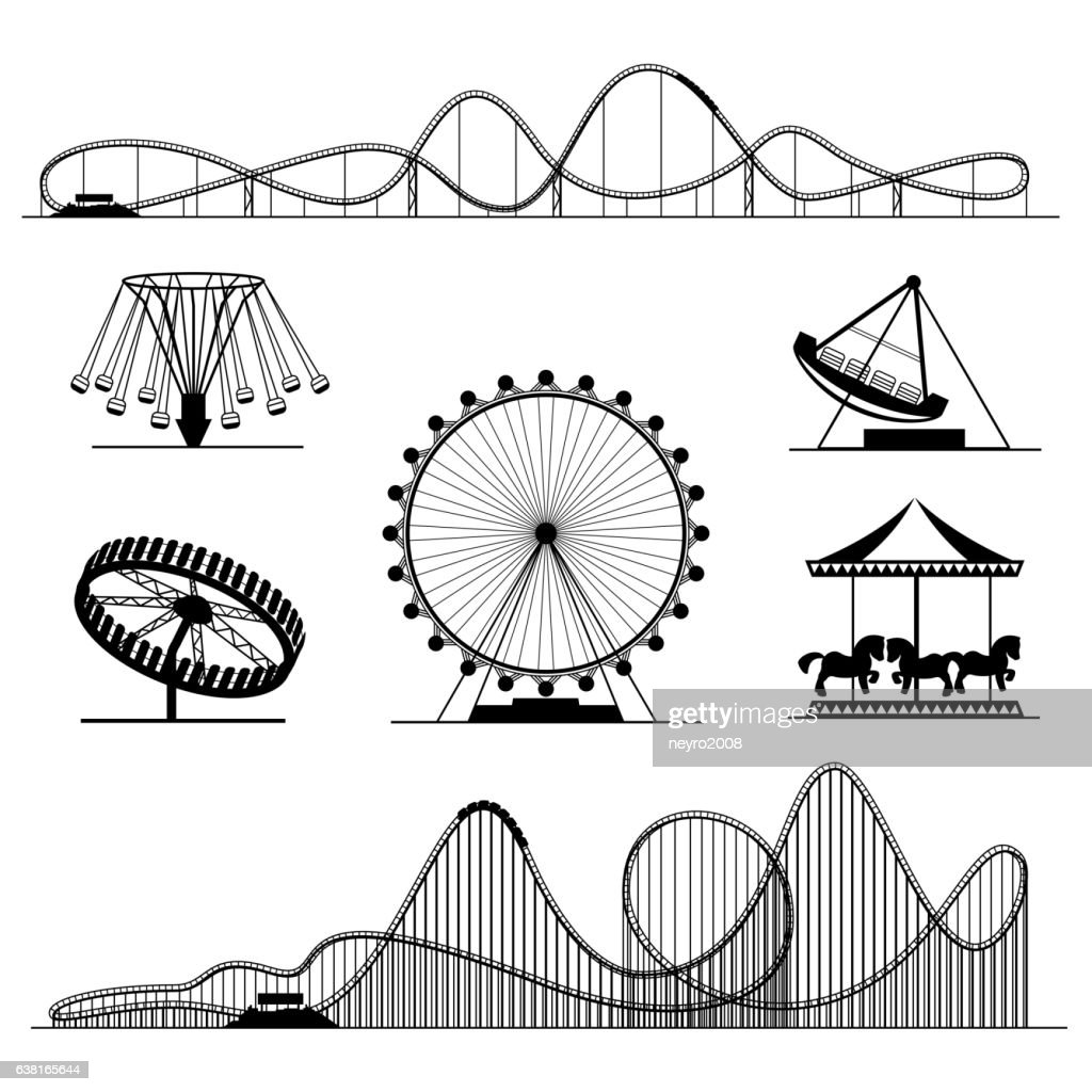 Amusement ride or luna park roller coasters entertainment vector set