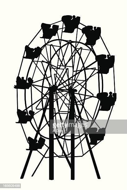amusements vector silhouette - ferris wheel stock illustrations, clip art, cartoons, & icons