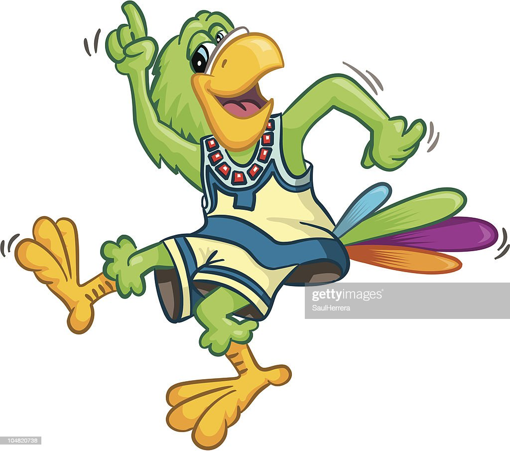 amusing latin parrot dancing : stock illustration
