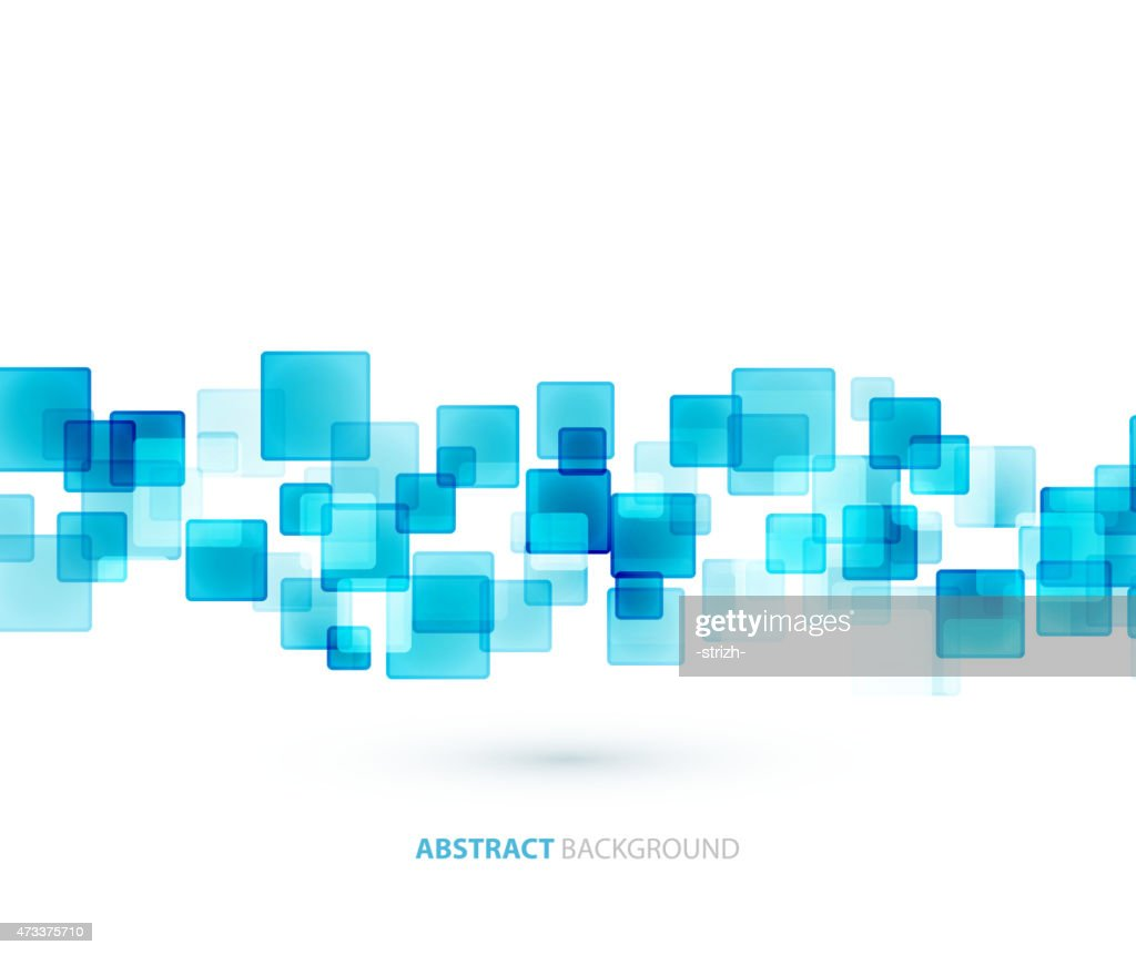 An abstract background of blue semi opaque squares