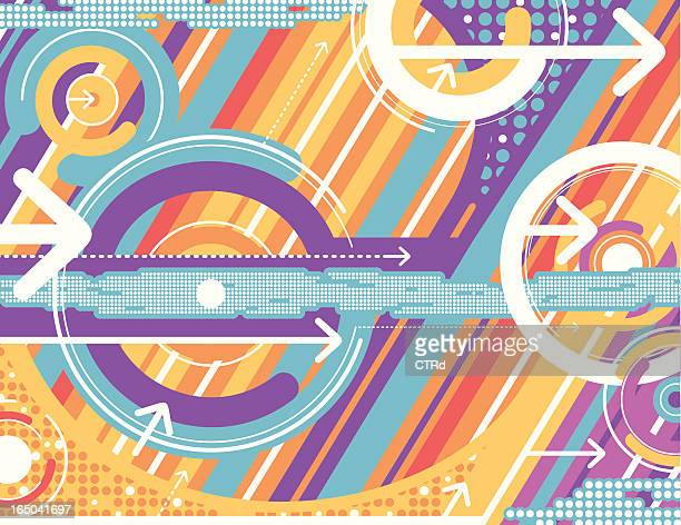 an abstract background of circles and arrows - spinning stock illustrations