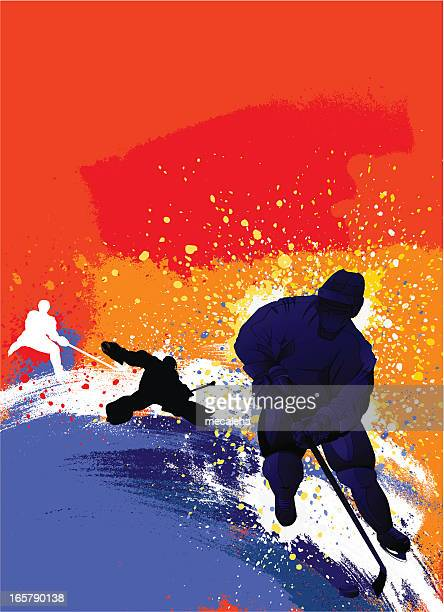 an abstract digital design of hockey player silhouettes  - hockey stock illustrations, clip art, cartoons, & icons