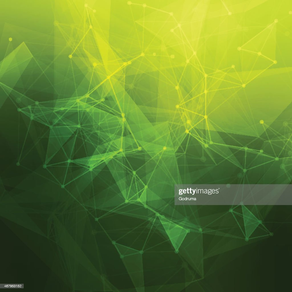 An abstract geometrical pattern in green and yellow