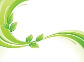 An abstract green background with leaves