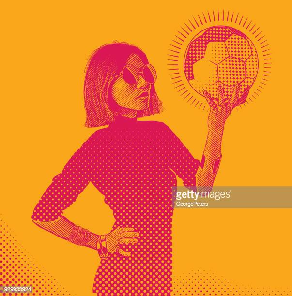 an adult east asian woman football fan holding a soccer ball - fan enthusiast stock illustrations, clip art, cartoons, & icons