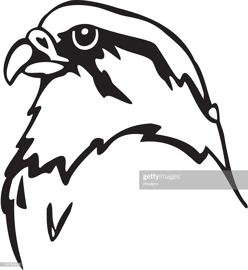 An animated black and white falcon : stock illustration